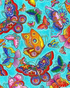 Flying colours 11 - folk butterflies - turquoise/gold