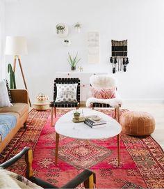 Living room styled by Loom + Kiln Living Room Carpet, Living Room Modern, Rugs In Living Room, Home And Living, Living Room Furniture, Living Room Decor, Wooden Furniture, Vintage Furniture, Outdoor Furniture