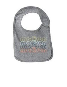 Madison Wisconsin Retro Funny Infant Jersey Bib Athletic Heather One Size, Grey