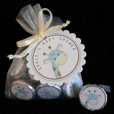 Personalized Hershey Kiss Baby Shower Favors Set, giraffe blue brown spots, ivory organza bags, set of 40. $50.00