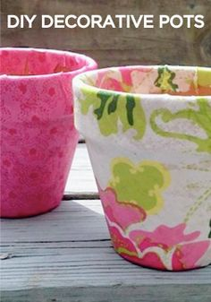 Decorative the backyard this summer with these adorable DIY fabric modge podge pots!