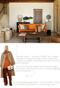 Rustic, paired with a bright sofa Beautiful Living Rooms, Living Room Modern, Living Room Sofa, Living Spaces, Burnt Orange Living Room, Orange Rooms, Orange Couch, Living Room Inspiration, Interior Inspiration