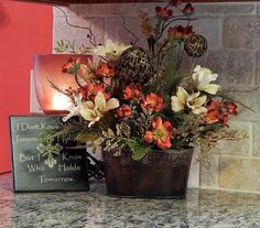 I love the colors of Tuscan!  Tuscany Floral Arrangement with Popppies by PataylaFloralDesigns