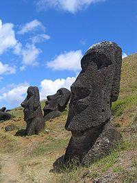 Moai left at the volcano