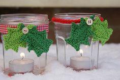Crochet Candle Holder holly-bonne maman jars and candles Christmas Hacks, Christmas Holidays, Christmas Crafts, Crochet Christmas Decorations, Holiday Ornaments, Holly Leaf, Christmas Candles, Diy Weihnachten, Jar Crafts