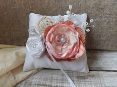 Wedding ring pillows in soft tones by SweetsOfLife4 on Etsy