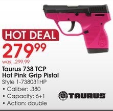 Taurus+738+TCP+Hot+Pink+Grip+Pistol+from+Academy+Sports+++Outdoors+$279.99+(7%+Off)+-+>