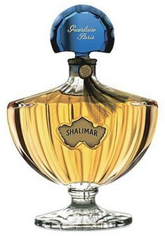Shalimar Guerlain. Perfume is composed of citrus notes; lemon and bergamot, jasmine, may rose, opoponax, Tonka bean, vanilla, iris, Peru balsam and gray amber. Coolness of the citrus notes leads to floral heart ending with a warm and luxurious trail.