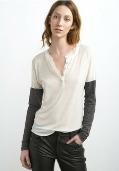 Autumn Gauze Colorblock Henley Top by Graham & Spencer