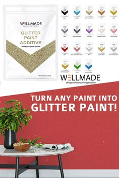 Wellmade glitter Paint additive adds sparkle to any standard water-based emulsion & acrylic paint. Use on DIY arts and crafts, furniture, walls and more. Fantastic for creative techniques and ideas. Available in many colors. Add an amazing sparkly to any project! Non-Toxic Child Safe #acrylicpaint #craftpaint #craftpaintideas #craftpainttechniques #glitter #glitterprojects #glitterpaint #diy #doityourself #crafter #reclaimed #repurposed #diyideas #handmade #crafters #upcycled #newhome #afflink Glitter Grout, Glitter Paint For Walls, Diy Arts And Crafts, Fun Crafts, Interior Paint, Interior And Exterior, Grout Paint, Glitter Paint Additive, Glitter Projects