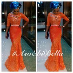 Orange Lace Dress & Blue & Gold Gele ~African fashion, Ankara, kitenge, African women dresses, African prints, Braids, Nigerian wedding, Ghanaian fashion, African wedding ~DKK