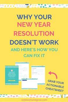Why your new year resolutions don't work and step-by-step guide on how to fix it, bonus free cheatsheet Productivity Management, Business Management, Business Planning, Business Tips, Online Business, Year Resolutions, Social Media Marketing, Marketing Strategies, Learning Resources