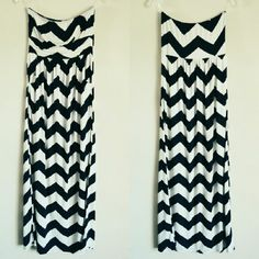 RESERVED Navy & White Chevron Strapless Maxi M Beautiful maxi dress, navy chevron/zig zag pattern on white, two side pockets, banded empire waist. Flattering to all shapes & sizes! Stretchy, opaque and lightweight. Can't remember wearing it at all, but might have worn it once. Bought at TJ Maxx or Marshalls. Material has great weight and feel to it, very soft. Fashionomics Dresses Maxi