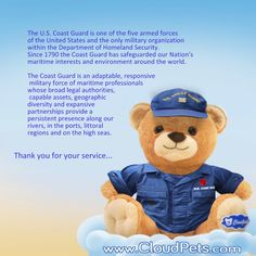 US Coast Guard  #cloudpets #teddy #message #blinkingheart #love #family #USA visit www.cloudpets.com for free shipping offer