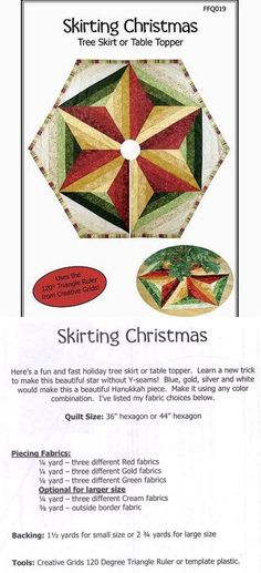 The instructions are not included (rather they are for sale). I guessed cutting the quarter yards into thirds, and seemed to be the right size. Xmas Tree Skirts, Christmas Tree Skirts Patterns, Christmas Skirt, Quilted Christmas Ornaments, Christmas Stuff, Christmas Ideas, Christmas Sewing Projects, Holiday Crafts, Christmas Quilting