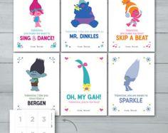 Kids Valentine cards Trolls Valentines by PandafunkCreations Easy Valentine Crafts, Valentines For Kids, Holiday Crafts, Valentine Cards, Valentine Ideas, Valentine Stuff, Printable Valentine, Trolls Birthday Party, Troll Party