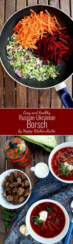 Easy and Healthy Russian-Ukrainian Borsch A thick vegetable soup, with red beet as the main ingredient, wholesome, flavorful, healthy and perfect for nasty autumn weather. Great entree for your Thanks (Diet Recipes Soup) One Pot Vegetarian, Soup Recipes, Vegetarian Recipes, Cooking Recipes, Healthy Recipes, Vegetarian Cooking, Diet Recipes, Lunch Recipes, Ideas