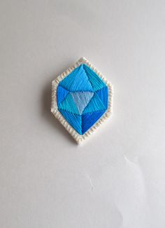 Geometric embroidered brooch hand made blue by AnAstridEndeavor