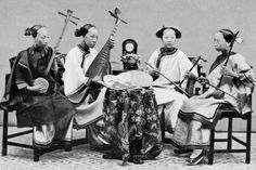Female Musicians with Traditional Chinese Musical Instruments in Hong Kong, C.1885 Photographic Print - L to R: Sanxian, Pipa, Jinghu, Erhu.