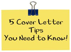 5 Cover Letter Tips - Read the full article at http://naterio.com/cover-letter-5-tips/