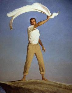 Bo Bartlett - Signal, 2000 - Oil on Linen - 94 x 86 Claudio Bravo, American Realism, Bo Bartlett, Art Of Man, Portraits, Art Moderne, Art Festival, Art Plastique, Figure Painting