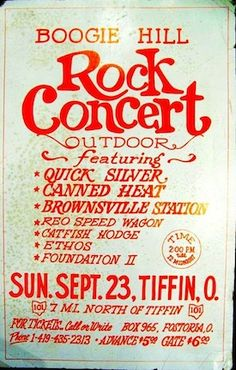 Quick Silver, Canned Heat, Brownsville Station, REO Speedwagon, Catfish Hodge, Ethos, and Foundation II. in Ohio