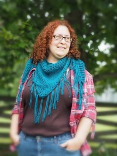Knit Triangle Shawl in Turquoise | CotswoldCrafters - Knitting on ArtFire