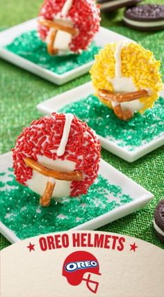 Gear up for the Big Game with OREO Helmets, a chocolatey football-themed dessert idea that makes fans out of your friends and family. Treat your guests to a sweet dish that sets the standard for football desserts. Shared by Career Path Design Football Desserts, Football Food, Football Things, Football Treats, Football Pics, Football Parties, Yummy Treats, Sweet Treats, Yummy Food