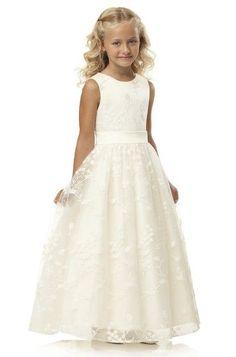 Dessy Ivory Lace Flower Girl Dress.