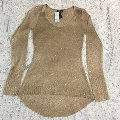 Beautiful Gold Knit Lightweight Sweater! Beautiful Gold Knit Lightweight Sweater with Gold Sequence! Never worn, comes with original tags attached. bebe Sweaters Crew & Scoop Necks