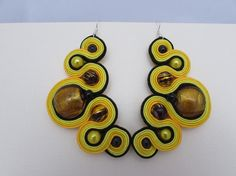 Yellow sun giving gold shine earrings soutache