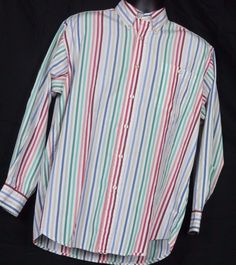 Orvis Men's Button Down Collar Multi-color  striped dress shirt.  Size Large #Orvis