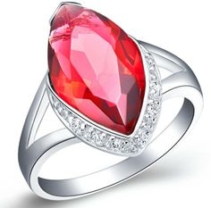 Fashion Woman Ring Wedding Rings Red Zircon Platinum Plated-Red