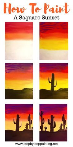 Acrylic Painting For Beginners, Simple Acrylic Paintings, Acrylic Painting Tutorials, Beginner Painting, Art Paintings, Portrait Paintings, Cactus Silhouette, Silhouette Painting, Abstract Art For Kids