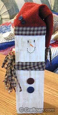 Wood Scrap Snowmen Christmas crafts