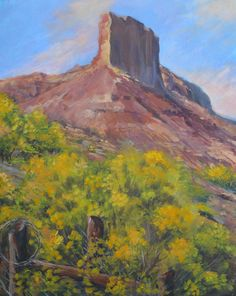 """A beautiful palisade overlooks picturesque Gateway, Colorado. My husband and I hiked up a canyon behind Gateway Canyons resort on a fine autumn day and I loved the brilliant yellow rabbit brush against the red rock edifice. 22""""x16"""" Acrylic on Canvas This painting is currently available. $650"""