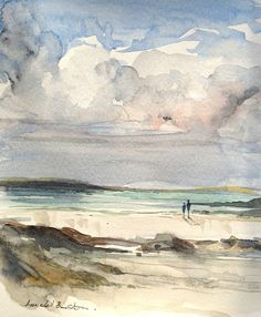 Original Watercolour Painting - Watching the Waves - Signed Annabel Burton