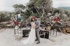 Colorful floral arrangements and boho bridal style bring the ground of this ancient Greek castle, Aigosthenon in West Attica, to life! Candy Bar Wedding, Wedding Desserts, Seaside Style, Beach Elopement, Wedding Dress Boutiques, Greece Wedding, Bohemian Bride, Burgundy Wedding, Atelier
