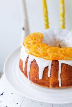 Meyer Lemon Bundt Cake with Candied Lemons (Simple Bites) Candied Lemon Slices, Candied Lemons, Lemon Recipes, Cake Recipes, Dessert Recipes, Lemon Desserts, Baking Recipes, Lemon Bundt Cake, Bundt Cakes
