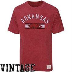 Original Retro Brand Arkansas Razorbacks Cardinal Distressed Crew Neck Vintage Premium T-Shirt