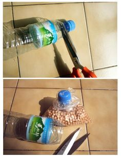 Take advantage of the plastic bottle caps to close bags of groceries in the pantry.