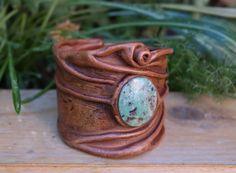Intrepid Jewelry - Brown Leather Cuff Bracelet with Jasper Cabochon, $55.00 (http://www.intrepidjewelry.com/products/brown-leather-cuff-bracelet-with-jasper-cabochon.html)