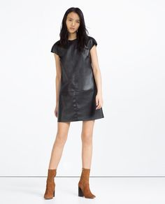 Image 1 of ZIPPED FAUX LEATHER DRESS from Zara