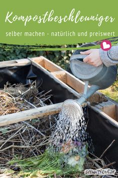 Kompostbeschleuniger selber machen – so reift der Kompost schneller With a homemade, natural compost accelerator, the decomposition in the compost heap is stimulated, and the humus is finished faster. Garden Types, Herbs Garden, Container Flowers, Container Plants, Compost Container, Gardening For Beginners, Gardening Tips, Organic Gardening, Compost Accelerator