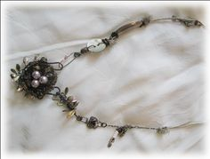 Burnished Nest Necklace   Mixed Media Wire Wrapped Necklace  Sidney Hanner, Designer and Instructor