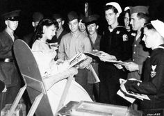 Yvonne De Carlo obliges the boys on the set of Salome Where She Danced.....Uploaded By www.1stand2ndtimearound.etsy.com