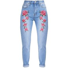 Kendall Mid WashEmbroidered Mom Jean (145 ILS) ❤ liked on Polyvore featuring jeans, pants, bottoms, jeans/pants and blue jeans