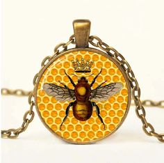 Hey, I found this really awesome Etsy listing at https://www.etsy.com/listing/126811736/bee-sweet-necklace-with-chain-altered