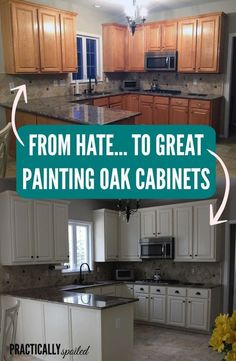 From HATE to GREAT, a tale of painting oak cabinets! – practicallyspoile… From HATE to GREAT, a tale of painting oak cabinets! – practicallyspoile… - White N Black Kitchen Cabinets Kitchen Paint, Kitchen Redo, Oak Cabinet Kitchen, Redoing Kitchen Cabinets, How To Paint Kitchen Cabinets White, Paint Bathroom Cabinets, Kitchen Cabinetry, Kitchen Island, Paint Cabinets White