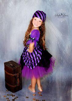 Pirate costume 5 Custom Boutique purple  Pirate skull tutu Halloween costume. $46.99, via Etsy.